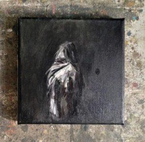 Agata Nowosielska, A woman in a fur, gouache on canvas, 2018