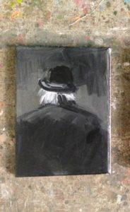 Agata Nowosielska, An old man, gouache on canvas, 2018