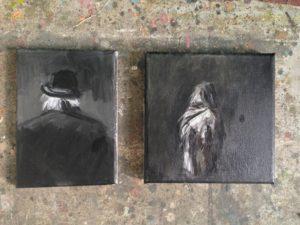 Agata Nowosielska, An old man, gouache on canvas, 2018   Agata Nowosielska, A woman in a fur, gouache on canvas, 2018