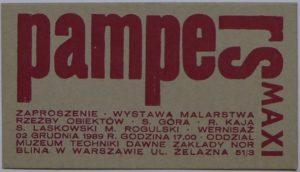 Zaproszenie – ulotka na wystawę grupy Pampers Maxi, której wernisaż odbył się 2 grudnia 1989 roku w dawnych zakładach Norblina w Warszawie. Dzięki uprzejmości Fundacji Tysiąc Najjaśniejszych Słońc